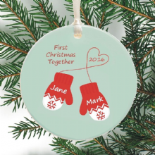 Personalized Ceramic Christmas Mittens Bauble - Personalised Decoration for First Christmas Engaged, Married, Together - Holiday Ornament